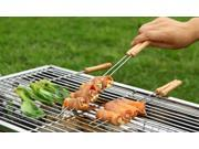 31cm Length Special Stainless Steel Wooden Handle Barbecue Grill Needle Tip Roast Sign 12 PCS/LOT for   BBQ Grilling Churrasco
