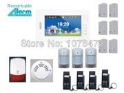 2014 hot selling High level 7 inch touch screen 868MHZ Home alarm system+smoke detector,flash siren,quad-band GSM alarm system