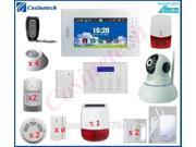 Customized 7 inch Touch screen 868 gsm alarm system+surveillance IP camera+Solar siren for home security WIFI alarm system