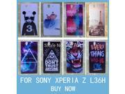 For Sony Xperia Z L36h Case Aztec Eiffel Tower Lips Tiger Deer Galaxy Panda Hard Cover Cell Phone Case