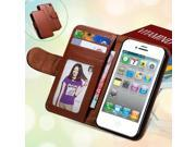 For iPhone 4S Leather Cases Card Slot Stand Wallet Case For iPhone 4 4S 4G Photo Frame Flip Phone Cover For iPhone 4S