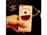 design Liquid Quicksand Red Wine Glass transparent Phone Case hard back Cover For Iphone Plus 9SIAC5C5AF5281