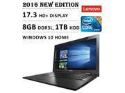 2016 Newest Lenovo Flagship Premium High Performance 17.3-inch HD+ Laptop, Intel Core i5-5200U 2.2 GHz, 8GB DDR3L Memory, 1TB HDD, DVD RW, Bluetooth, Webcam, WiFi, HDMI, Windows 10, Black