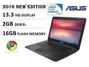 2016 Newest Model Asus 13.3 inch HD Premium Built Chromebook, Intel Dual-Core Processor 2.16GHz, 2GB DDR3, 16GB EMMC flash memory, 802.11 AC, Webcam, HDMI, USB 3.0, SD Card Reader, Chrome OS, Black