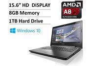 "2016 Newest Lenovo 15.6"" High Performance Flagship Laptop PC - AMD Quad-Core A8 Processor up to 2.4GHz, 8GB RAM, 1TB HDD, AMD Radeon R5, SuperMulti DVD Drive, WLAN, Bluetooth, HDMI, Webcam, Windows 10"