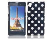 Dots Pattern TPU Protective Case for Sony L39H Black Bottom White Dots