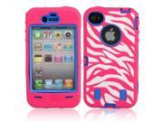 Zebra Design Protective Silicone Hard Case Cover for iPhone 4/4S Rose + Dark Blue 9SIA6RP2C52254