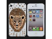 Cool 3D Leopard Head Style Plastic Protective Back Case for iPhone 4/4S Transparent & Golden 9SIA6RP2C53090