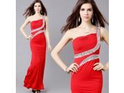30791 Elegant Stylish Georgette & Polyester & Spandex Evening Gown Toast Dress Size M Red