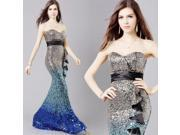 Sequins Gradual Color Elegant and Stylish Fishtail Style Evening Dress Wedding Dress M Gradual Blue
