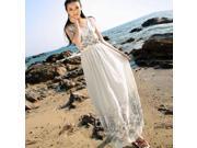 Bohemia Style Long Chiffon Printed Pattern Sleeveless Dress Free Size