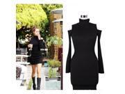 Pure Color Turtle Neck Hollow Long Sleeve Hip-hugger Blended Cotton Dress Black M 9SIA6RP2CJ4144