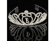 Bride and Wedding Style Top grade and Exquisite Sunflower Design Alloy and Rhinestone Crown Hair Comb Pin Silver