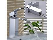 90 Degree Contemporary Single Handle Waterfall Basin Faucets Chrome Finish Mixer Taps