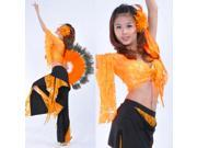Dancewear Crystal Cotton with Lace Practice Belly Pants Dance Set for Ladies Orange