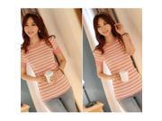 Fashion Slim Stripe Pattern Round Neck Short Sleeve Knitting Women's Bottoming Sweater Pink Free Size 9SIA6RP2U29523