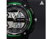 Men AK1280 Waterproof Sport Plastic Glass Stainless Steel Case Plastic Band Digital Quartz Wrist Watch Green 9SIA6RP2U38622