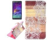 Flower Pattern Leather Case with Holder & Card Slots & Wallet for Samsung Galaxy Note 4 / N9100 9SIA6RP2VY2627