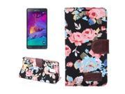 Flower Pattern Leather Case with Holder and Card Slots for Samsung Galaxy Note 4 (Black) 9SIA6RP2VY2655