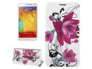 Purple Flower Pattern Leather Case with Holder for Samsung Galaxy Note 3 / N9000 9SIA6RP2VY2637