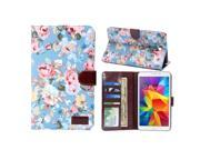 Peony Pattern Denim Texture Leather Case with Credit Card Slots & Holder for Samsung Galaxy Tab 4 7.0 / SM-T230