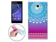 White Carving Pattern Ultra-thin Transparent TPU Protective Case for Sony Xperia M2