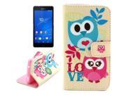 Owl Pattern Leather Case with Holder & Card Slots & Wallet for Sony Xperia Z3 Compact / D5803