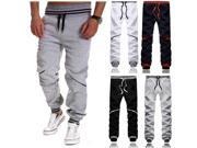 Mens Casual Drawstring Pants Hit Color Stitching Jogging Sports Trousers Black S