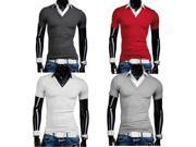 Men Fake Two Shirt Collar Slim Short Sleeve POLO T-shirt White XS 9SIA6RP3871910