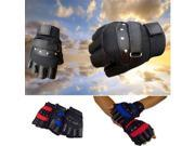 Unisex Mens Ladies Driving Riding Gym Half Finger Gloves Black