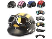 ECE Motorcycle Half Open Face Leather Helmet With Sun Visor Goggles Black & Pink 9SIA6RP3922289