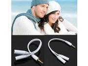 White 3.5mm Audio Splitter Y Cable For Earphones Headphones Lead Cord Jack Adapter