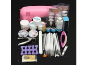 Pro Acrylic Nail Art UV Gel Lamp Brush Powder Tips Manicure Set Kit