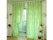 100x200cm Green Leaves Voile Window Screening Balcony Bedroom Window Curtain Green
