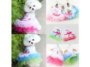Puppy Dog Cat Pet Summer Dress Lace Apparel Skirt Dress Sleeveless Braces Pink L