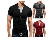 Mens Cotton Solid V-neck Botton T-shirt Slim Fit Short-sleeved T-shirt Black L 9SIA6RP3D98815