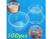 100pcs 1oz 30ml Cup With Lid Clear Plastic Pudding Jelly Sauce Cup 9SIA6RP6KW6342