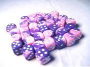 D6 12mm Pink & Purple w/White (36) MINT/New