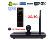 Q7S smart tv box Player Android 4.4 Quad Core 2G/8GB 2MP Camera Mic XBMC DLNA Miracast Bluetooth Set Top Box 9SIA6SY3T76959