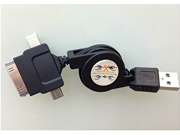 3in1 Cell Phone Charger - Retractable USB Charging and Data Cable for  iPhone 4 / iPhone 5 and Micro USB