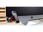 Auto Red Black Plastic Rotatable Globe Cell Phone Holder Support w Suction Cup 9SIAAZM45N8666