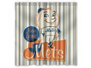 New York Mets 02 MLB Design Polyester Fabric Bath Shower Curtain 180x180 cm Waterproof and Mildewproof Shower Curtains
