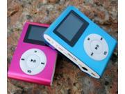 Metal Clip LCD Screen FM Radio Support 2GB-16GB Micro SD/TF Card Slot Mp3 Player-Color Pink