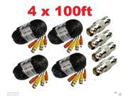 Lot 4 x New 100ft BNC CCTV Video Power Cable CCD Security Camera DVR Wire Cord