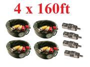 4 New 160ft BNC CCTV Video Power Cable CCD Security Camera DVR Wire Cord