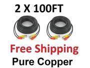 2 X 100FT CCTV SECURITY CAMERA CABLE SURVEILLANCE WIRE VIDEO BNC CORD POWER DVR
