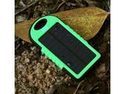 Black+Green 5000 mah Dual-USB Waterproof Solar Power Bank Battery Charger for Cell Phone
