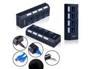Black High-Speed USB 3.0  4-Port HUB with On/Off Switch