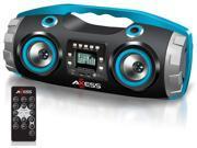 """E-buy World"" AXESS PBBT2709BL Portable Bluetooth FM Radio/CD/MP3/USB/SD Heavy Bass Boombox"