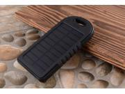 Black+Black 5000 mah Dual-USB Waterproof Solar Power Bank Battery Charger for Cell Phone